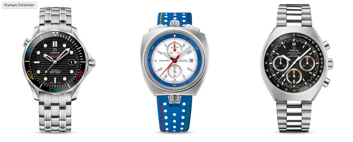 Three special edition watches from Omega in commemoration of the Rio 2016 Olympic Games