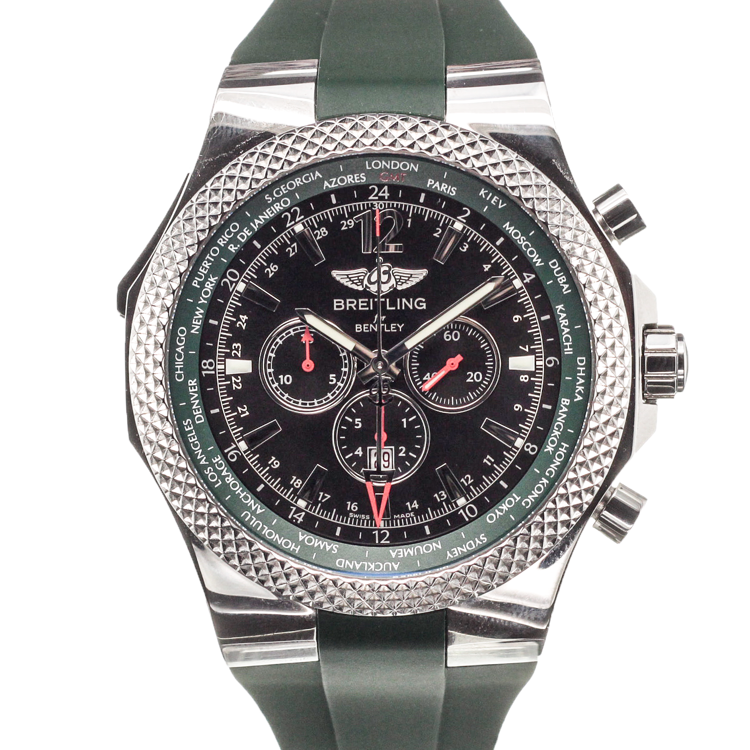 bentley gmt steel bracelet main breitling watches chronograph watch essential collection black with unitime on dial in